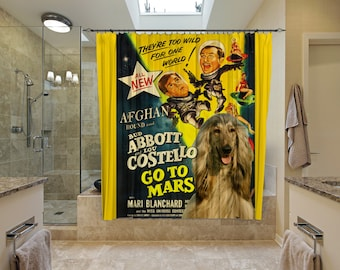 Afghan Hound Art Shower Curtain, Dog Shower Curtains, Bathroom Decor - Abbott and Costello Go To Mars Movie Poster
