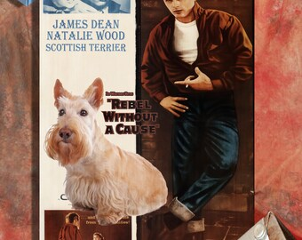 Scottish Terrier Art Vintage Movie Style Poster Canvas Print  - Rebel Without a Cause Perfect DOG LOVER GIFT Gift for Her Gift for Him