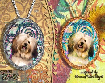 Havanese Dog Jewelry Pendant Brooch Handcrafted Porcelain by Nobility Dogs