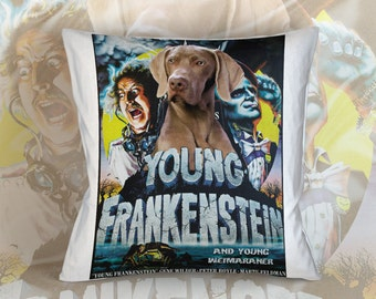 Weimaraner Art Pillow    Young Frankenstein Movie Poster   by Nobility Dogs