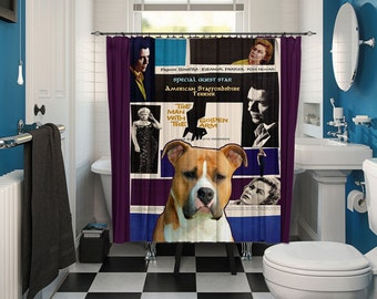 American Staffordshire Terrier Art Shower Curtain, Dog Shower Curtains, Bathroom Decor - The Man with the Golden Arm Movie Poster