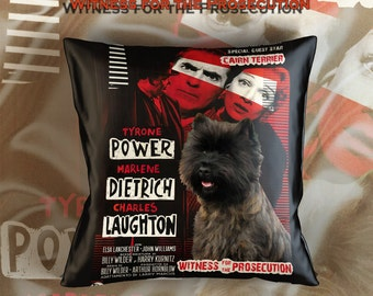 Cairn Terrier Art Pillow    Witness for the Prosecution Movie Poster   by Nobility Dogs