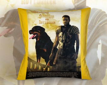 Rottweiler Art Pillow  Gladiator Movie Poster   by Nobility Dogs