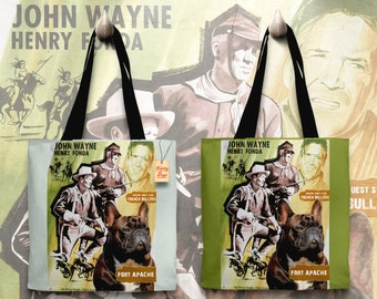French Bulldog Art Tote Bag   Fort Apache Movie Poster     by Nobility Dogs