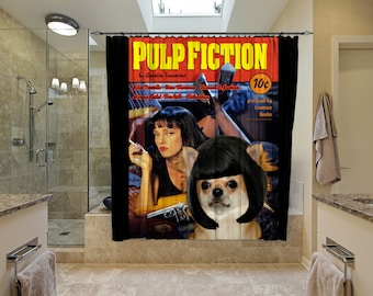 Chihuahua Art Shower Curtain, Dog Shower Curtains, Bathroom Decor - Pulp Fiction Movie Poster