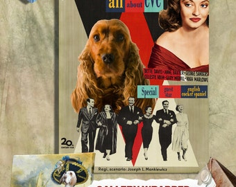English Cocker Spaniel Vintage Canvas Print  - All About Eve Movie Poster Perfect DOG LOVER GIFT Gift for Her Gift for Him Home Decor