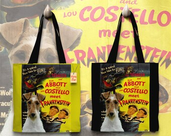Fox Terrier Wire Art Tote Bag   Abbott and Costello Meet Frankenstein Movie Poster by Nobility Dogs