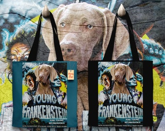 Weimaraner Art Tote Bag   Young Frankenstein Movie Poster     by Nobility Dogs