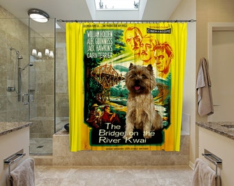 Cairn Terrier Art Shower Curtain, Dog Shower Curtains, Bathroom Decor - The Bridge on the River Kwai Movie Poster