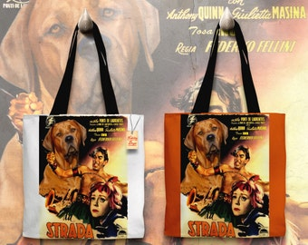 Tosa Inu Art Tote Bag - La Strada Movie Poster   Perfect DOG LOVER Gift for Her Gift for Him