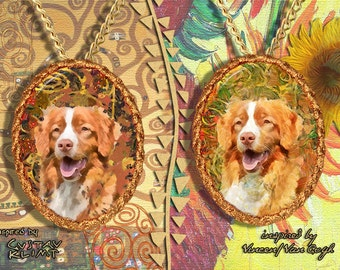 Nova Scotia Duck Tolling Retriever Jewelry Pendant   Brooch Handcrafted Porcelain by Nobility Dogs   Gustav Klimt and Van Gogh