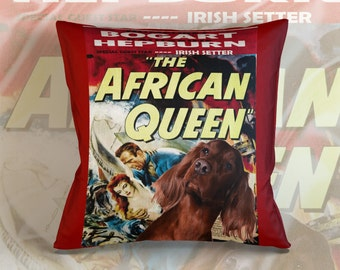 Irish Red Setter Art Pillow Case   The African Queen Movie Poster   by Nobility Dogs