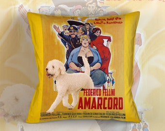 Lagotto Romagnolo Art Pillow Amarcord Movie Poster   by Nobility Dogs