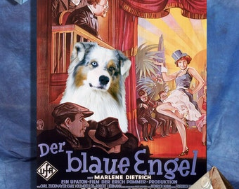 Australian Shepherd Art Aussie Dog The Blue Angel Movie Poster Vintage Style Giclee Print  or Canvas Print Gift for Her Gift For Him