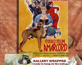 Italian Greyhound Art Print Amarcord Vintage Movie Poster by Nobility Dogs