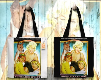 Basenji Art Tote Bag   Some Like It Hot Movie Poster by Nobility Dogs
