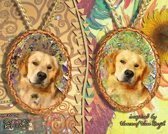 Golden Retriever Jewelry Pendant   Brooch Handcrafted Porcelain by Nobility Dogs   Gustav Klimt and Van Gogh