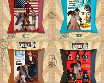 Spanish Greyhound Galgo Dog Art Pillow Gifts inspired by Movie Poster Tootsie, Sabrina, Rebel without a Cause and Pulp Fiction
