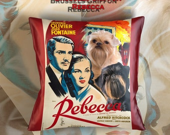 Brussels Griffon Art Pillow    Rebecca Movie Poster   by Nobility Dogs