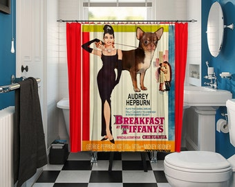Chihuahua Art Shower Curtain, Dog Shower Curtains, Bathroom Decor - Breakfast at Tiffany's Movie Poster