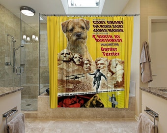 Border Terrier Art Shower Curtain, Dog Shower Curtains, Bathroom Decor - North by Northwest Movie Poster