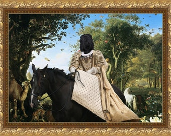 "Black  Russian Terrier Art ""Queen at Paradise""  Prin Dog Lover  Gifts by Nobility Dogs"