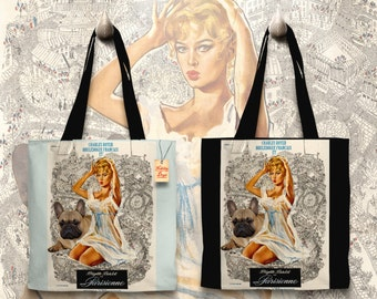 French Bulldog Art Tote Bag   La Parisienne Movie Poster     by Nobility Dogs