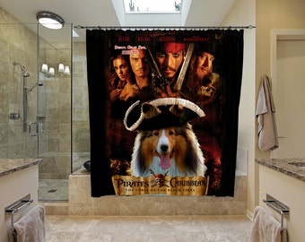 Shetland Sheepdog Art Shower Curtain, Dog Shower Curtains, Bathroom Decor - Pal Joey Movie Poster by Nobility Dogs