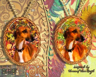 Azawakh Jewelry Pendant - Brooch Handcrafted Porcelain by Nobility Dogs - Gustav Klimt and Van Gogh