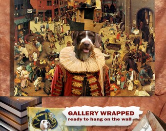 German Wirehaired Pointer Art Canvas Print GWP Dog Lover Gift by Nobility Dogs