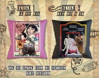 Yorkshire Terrier Dog Gifts Portrait Pillow inspired by Movie Poster My Fair Lady and Some Like It Hot by Nobility Dogs