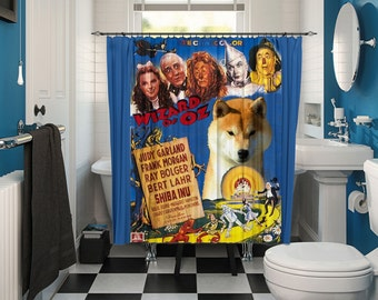 Shiba Inu Art Shower Curtain, Dog Shower Curtains, Bathroom Decor - The Wizard of Oz Movie Poster