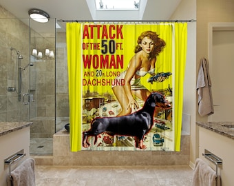 Dachshund Art Shower Curtain, Dog Shower Curtains, Bathroom Decor - Attack of the 50 Foot Woman Movie Poster