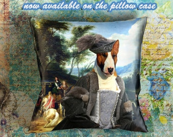 Christmas Gifts Bull Terrier Pillow Portrait  Dog Lover  by Nobility Dogs Arts