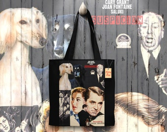Saluki Art Tote Bag   Suspicion Movie Poster by Nobility Dogs