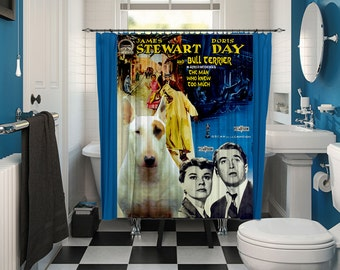 Bull Terrier Art Shower Curtain, Dog Shower Curtains, Bathroom Decor - The Man Who Knew Too Much Movie Poster