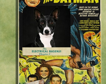 Basenji Vintage Movie Style Poster Canvas Print  - Batman The electrical Brain  Perfect DOG LOVER GIFT Gift for Her Gift for Him