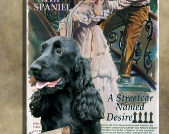 English Cocker Spaniel Vintage Movie Style Poster Canvas Print    A Streetcar Named Desire