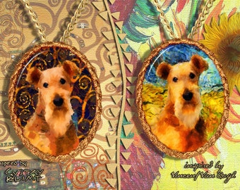 Airedale Terrier Jewelry Pendant - Brooch Handcrafted Porcelain by Nobility Dogs - Gustav Klimt and Van Gogh