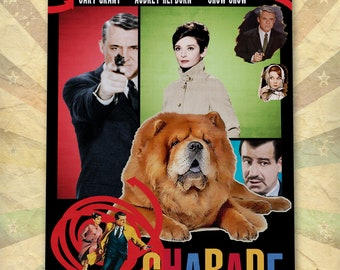 Chow Chow Dog Art Charade Vintage Movie Poster Giclee Print  or Gallery wrapped Canvas ready to hang on the wall Gift for Her Gift For Him