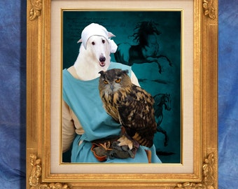 Borzoi  Art Print  11 x 14 inch original illustration artwork giclee archival premium poster print  By Nobility Dogs