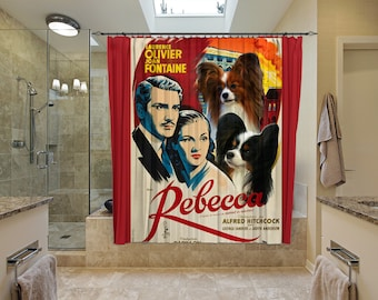 Papillon Dog Art Shower Curtain, Dog Shower Curtains, Bathroom Decor  Rebecca Movie Poster  Perfect CHRISTMAS Gift SALE 25 off Free Shipping