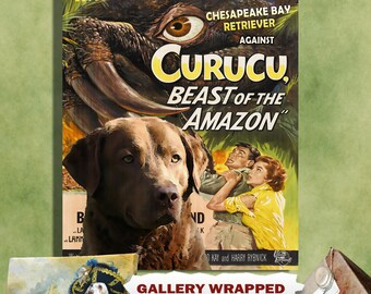 Chesapeake Bay Retriever Vintage Movie Style Poster Canvas Print   Perfect DOG LOVER GIFT Gift for Her Gift for Him Home Decor
