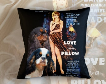 English Toy Spaniel Art Pillow     Love on a Pillow Movie Poster   by Nobility Dogs