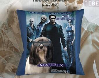 Tibetan Terrier Art Pillow    Matrix Movie Poster   by Nobility Dogs