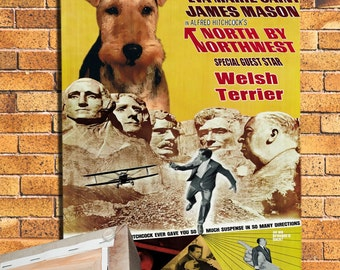 Welsh Terrier Vintage Movie Style Poster Canvas Print   Perfect DOG LOVER GIFT Gift for Her Gift for Him Home Decor