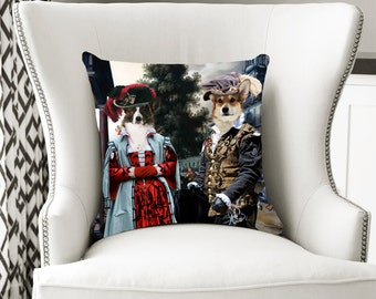 Christmas Gifts Welsh Corgi Pillow Portrait Dog Lover  by Nobility Dogs Arts