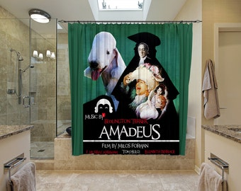 Bedlington Terrier Art Shower Curtain, Dog Shower Curtains, Bathroom Decor - Amadeus Movie Poster