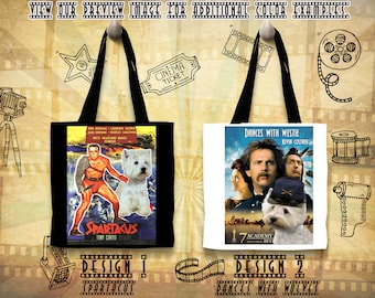 Westie Art Tote Bag West Highland White Terrier Gifts inspired by Movie Poster Spartacus and Dances with Wolves Gift for Her