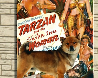 Shiba Inu Vintage Movie Style Poster Canvas Print  - Tarzan and the Leopard Woman Perfect DOG LOVER GIFT Gift for Her Gift for Him